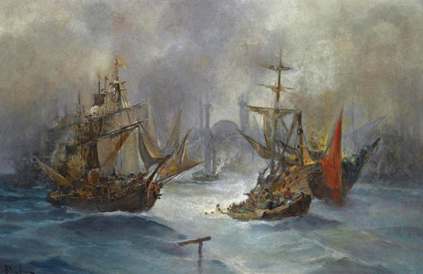 Painting - Ships Off The Coast Of Constantinople by Vasilios Chatzis