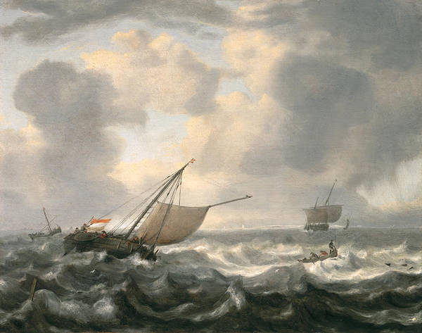 Wave Breaking Painting - Ships On A Choppy Sea by Hendrik van Anthonissen