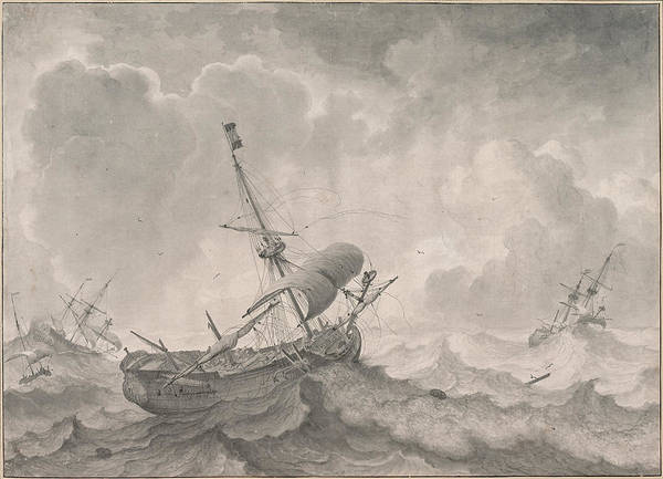 Stormy Drawing - Ships On A Stormy Sea by Ludolf Bakhuizen