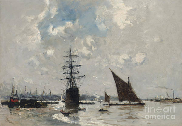 Wall Art - Painting - Ships On The Thames by Frank Myers Boggs