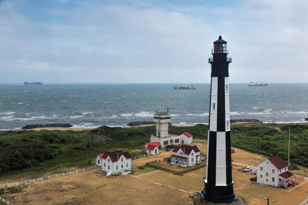 Photograph - Ships Passing New Cape Henry Lighthouse by Jemmy Archer