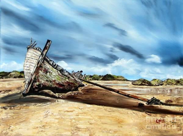 Donegal Painting - Shipwreck Bunbeg Donegal by Corina Hogan