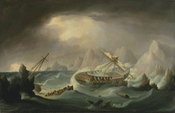 Shipwreck Painting - Shipwreck Off A Rocky Coast by War Is Hell Store