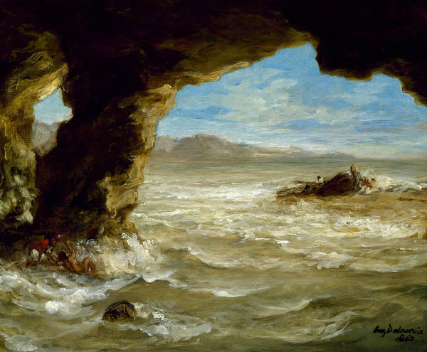 Shipwreck Painting - Shipwreck On The Coast  by Eugene Delacroix