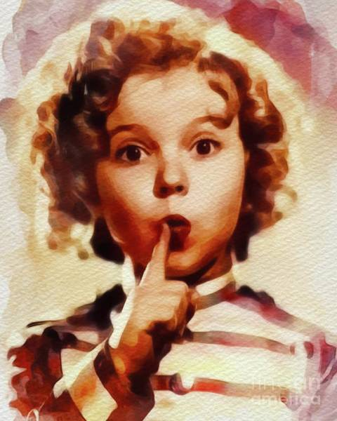 Screen Painting - Shirley Temple, Vintage Movie Star by John Springfield
