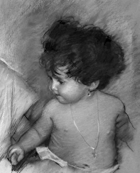 Black And White Drawing - Shirtless Baby by Ylli Haruni
