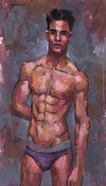 Gestural Painting - Shirtless On Grey Background by Douglas Simonson