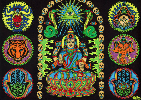 Hindu Goddess Drawing - Shivatfairfoot by Chris  Rolling