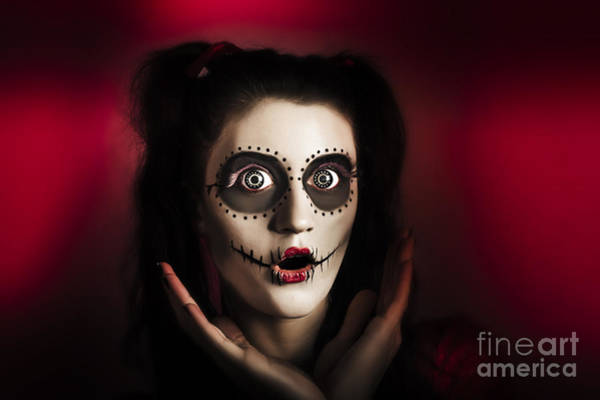Wall Art - Photograph - Shocked Day Of The Dead Voodoo Doll On Red by Jorgo Photography - Wall Art Gallery