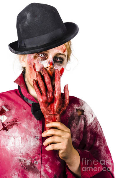 Dread Photograph - Shocked Zombie Holding Severed Hand. Dead Silence by Jorgo Photography - Wall Art Gallery