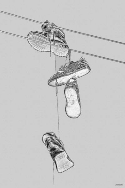 Photograph - Shoefiti 2103bw by Brian Gryphon