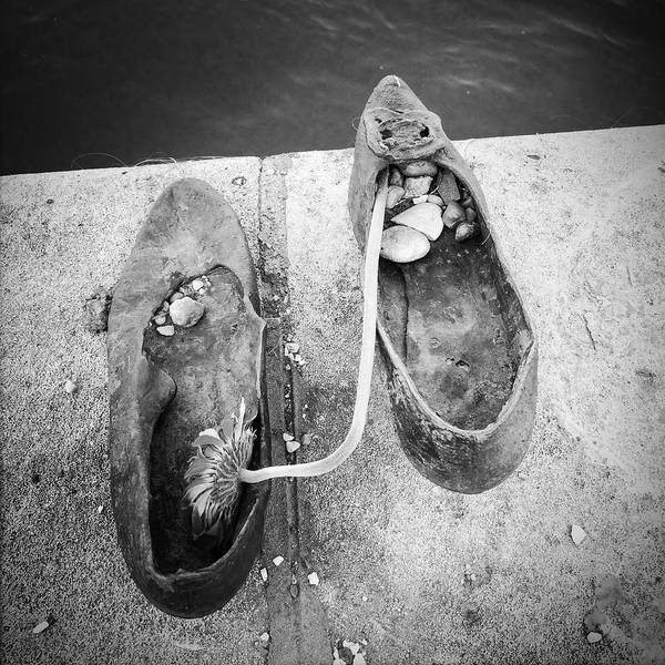 Wall Art - Photograph - Shoes Memorial Budapest Black And White by Matthias Hauser