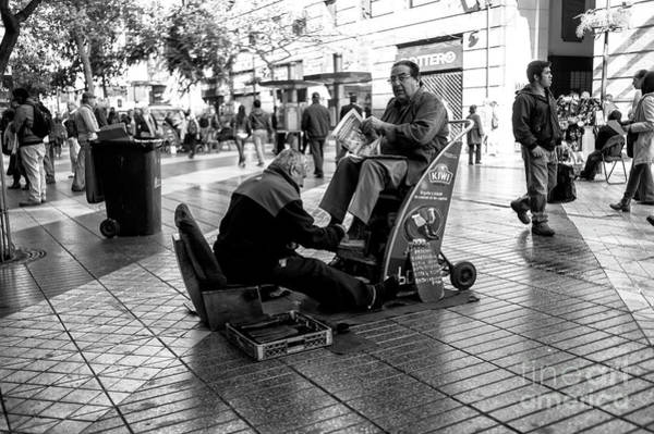 Photograph - Shoeshine In Santiago Chile by John Rizzuto