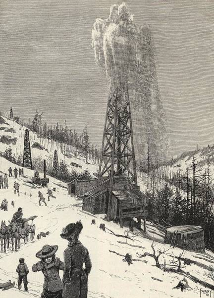 Oil Derrick Drawing - Shooting An Oil Well From The Book The by Vintage Design Pics