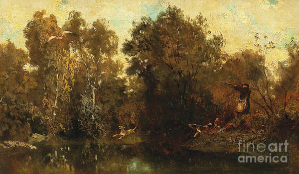 Shooting Painting - Shooting At A Woodland Pool by Alexandre Gabriel Decamps