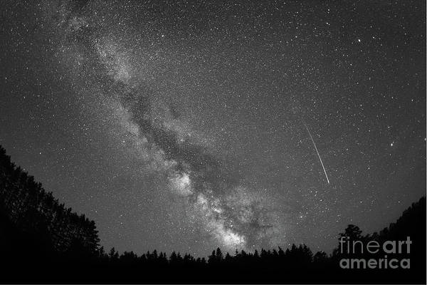 Shooting Star Wall Art - Photograph - Shooting Star Milky Way Rising Bw by Michael Ver Sprill