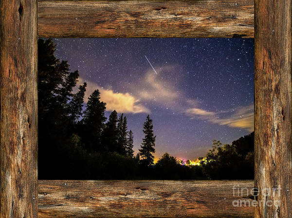 Photograph - Shooting Star Rustic Wood Window View by James BO Insogna