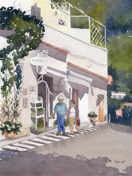 Shopping Painting - Shopping Along The Amalfi Coast by Marsha Elliott