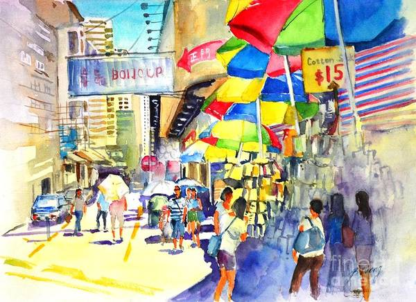 Painting - Shopping Spree In Hong Kong by Betty M M Wong