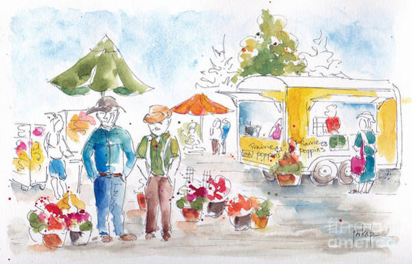 Painting - Shopping The Market by Pat Katz