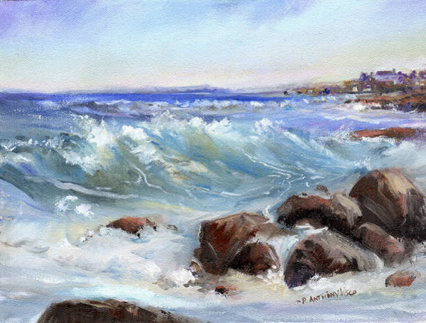 Wave Breaking Painting - Shore Is Breathtaking by P Anthony Visco