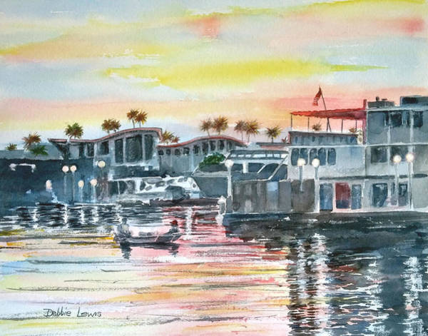 Painting - Shoreline Marina At Dusk by Debbie Lewis