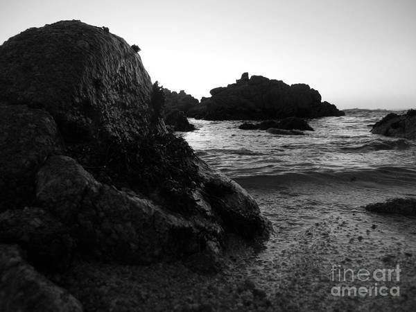 Photograph - Shoreline Monolith Monochrome by James B Toy