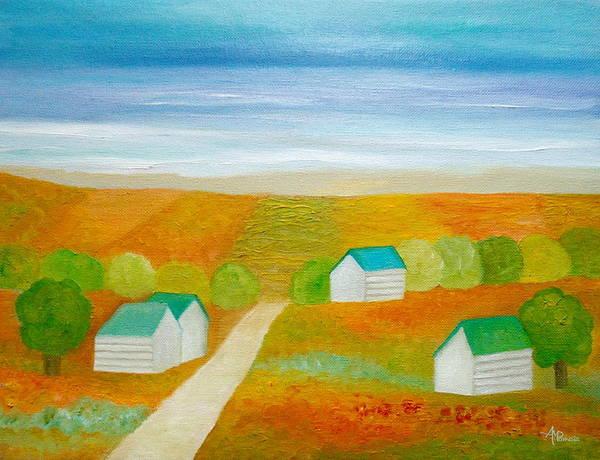 Painting - Shoreline Village by Angeles M Pomata