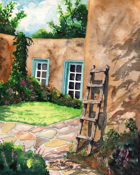 Adobe Walls Painting - Short Ladder by Timithy L Gordon