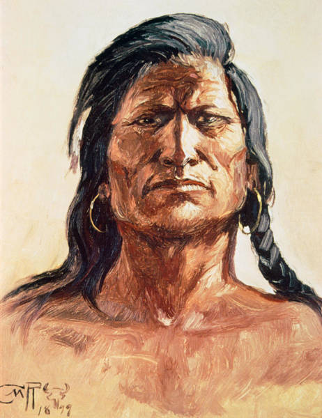 Plaits Painting - Shoshone Tribesman by Charles Marion Russell