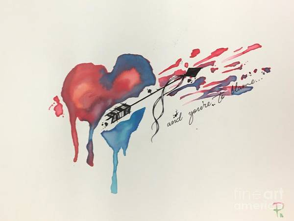Tattoo Flash Painting - Shot Thru The Heart by Pink Langston