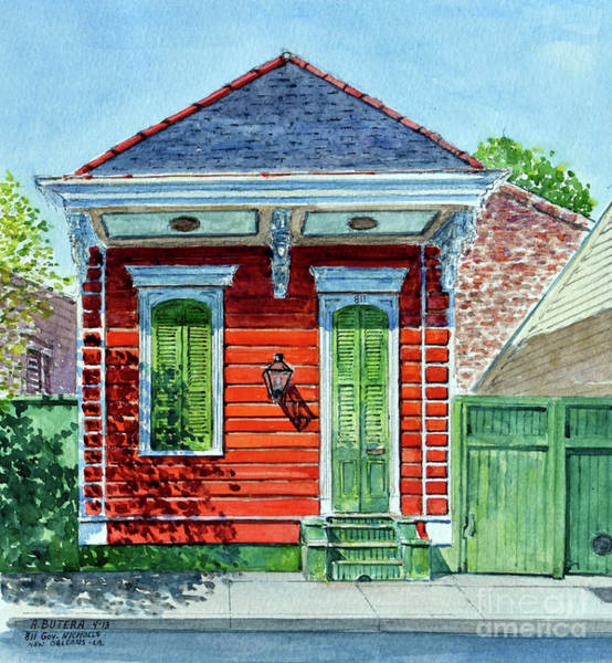 Wall Art - Painting - Shotgun House, New Orleans   Watercolor by Anthony Butera