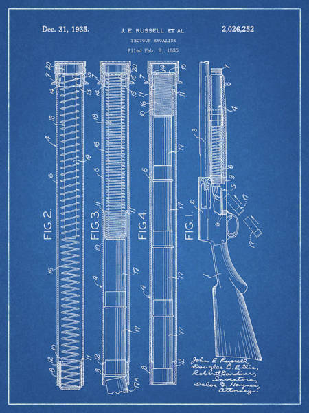Drawing - Shotgun Magazine Blueprint by Dan Sproul