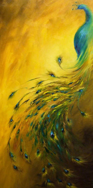 Peafowl Painting - Show Off 1 Vertical Peacock by Dina Dargo