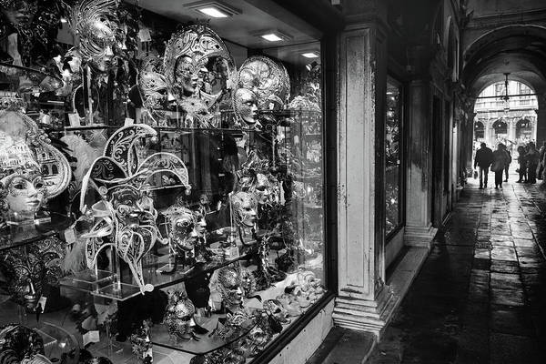 Photograph - Mask Store In Venice, Italy - Black And White by Fine Art Photography Prints By Eduardo Accorinti