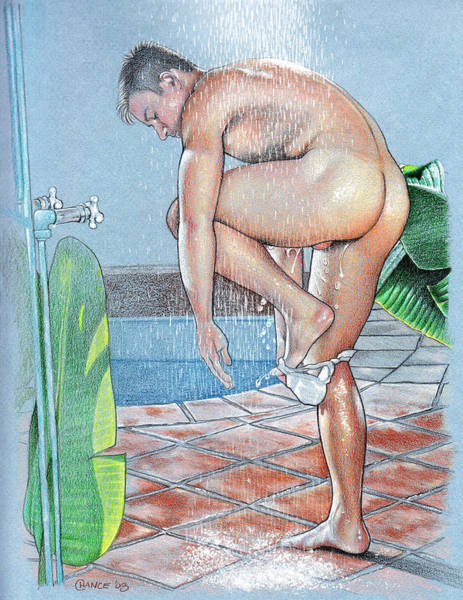 Muscular Wall Art - Drawing - Shower by Chance Manart