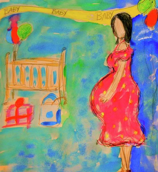 Pregnancy Mixed Media - Shower Time by Laura Ogrodnik