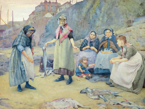 Newlyn Painting - Showing Fish by Thomas Cooper Gotch