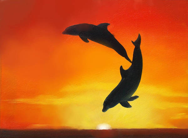 Dolphins Wall Art - Painting - Showing Off by Darlene Green