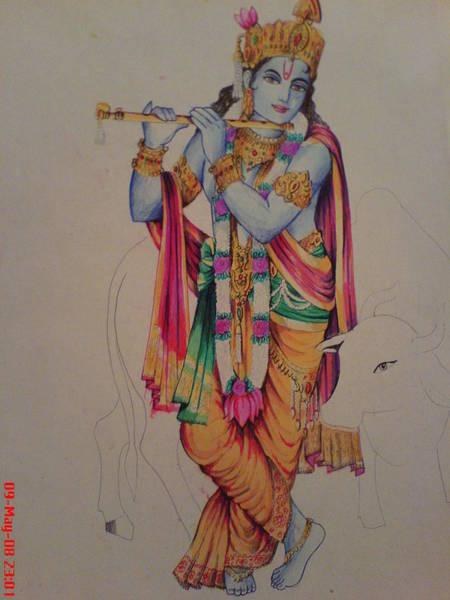 Dwayne Johnson Wall Art - Painting - Shri Krishna by San Art Studio