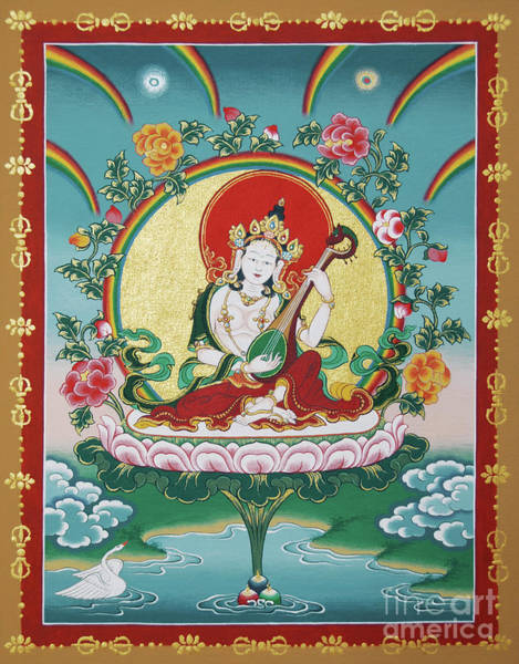 Dzogchen Painting - Shri Saraswati - Goddess Of Wisdom And Arts by Sergey Noskov