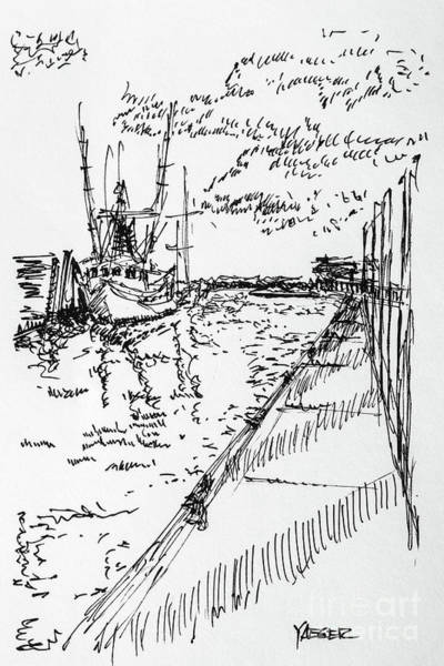 South Beach Drawing - Shrimp Boat From The Harbor by Robert Yaeger