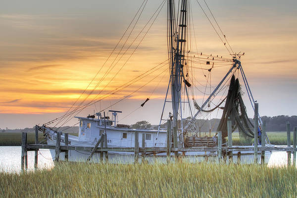Rigging Photograph - Shrimp Boat Sunset Charleston Sc by Dustin K Ryan