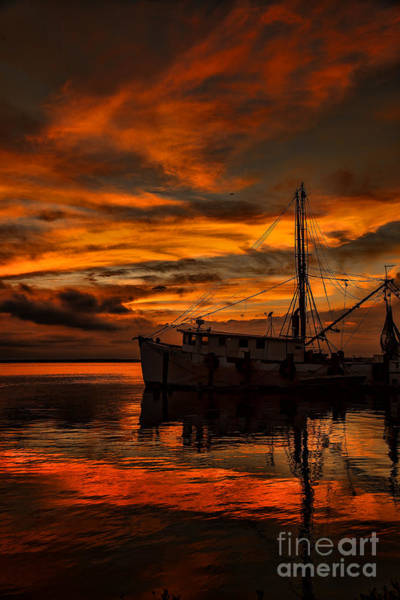 Photograph - Shrimp Boat Sunset by Dave Bosse