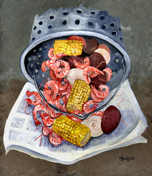 Food Wall Art - Painting - Shrimp Boil by Elaine Hodges