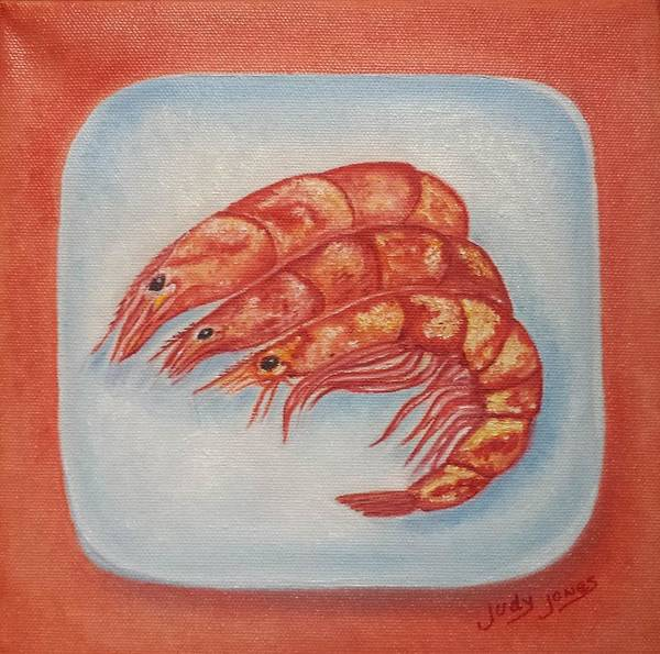 Wall Art - Painting - Shrimp On A Platter by Judy Jones