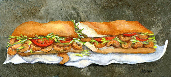 Food Wall Art - Painting - Shrimp Po Boy by Elaine Hodges