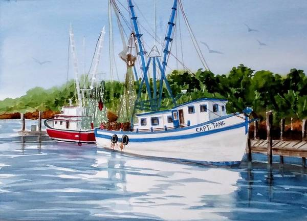 Netting Painting - Shrimpers by Becky Taylor