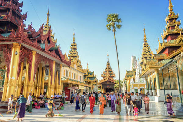 Buddhist Temple Wall Art - Photograph - Shwedagon Pagoda by Louise Poggianti