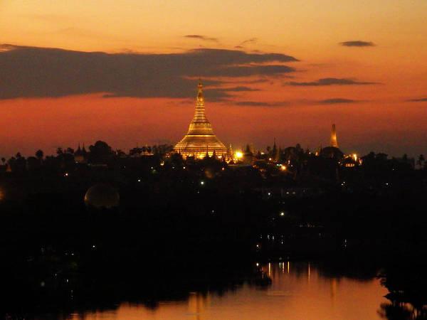 Photograph - Shwedagon Pagoda Skyline At Sunset by Kurt Van Wagner